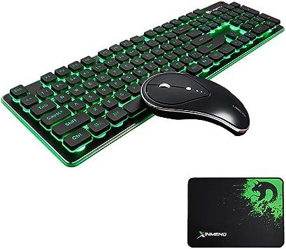 Combo de teclado y ratón inalámbricos de 2,4 G, teclado retroiluminado y silencioso para juegos, para ordenador portátil, ordenador y Mac (negro)