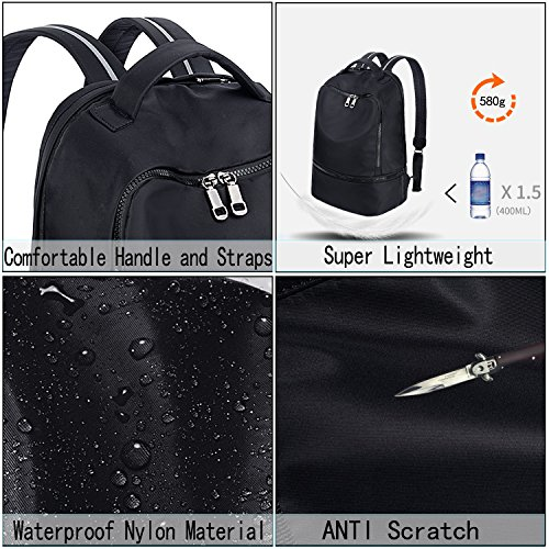 Backpack Hiking Sport 3m Black Reflective Nylon Bag Uto Straps Fashion Functional Gym School Ex0qYpCFn