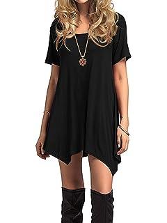 OMZIN Damen Kleid Kurzarm Casual Rundausschnitt Tops Longshirt Gro/ße Gr/ö/ße 2XS-5XL