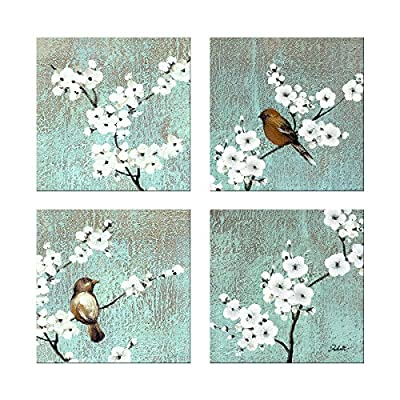 Dzhan Bird Wall Art, 13X13inches 4pc Botanical Prints Wall Art for Living Room, Oil Painting Texture Pigment Printing… - *DESIGN: Two birds singing on the high branches, colorful design, you will feel that everything is full of hope and vitality whenever you see them. *SIZE:13x13inchesx4pcs wall art(33x33cmx4pcs) *MATERIAL:The bird wall art canvas prints are environmentally-friendly, which uses the museum-level artwork reproduction process (the highest level in machine production), does not fade, prints with environmentally friendly pigments, has excellent color, no odor, and can be used in children's rooms assured! - wall-art, living-room-decor, living-room - 61SW%2BLOUApL. SS400  -