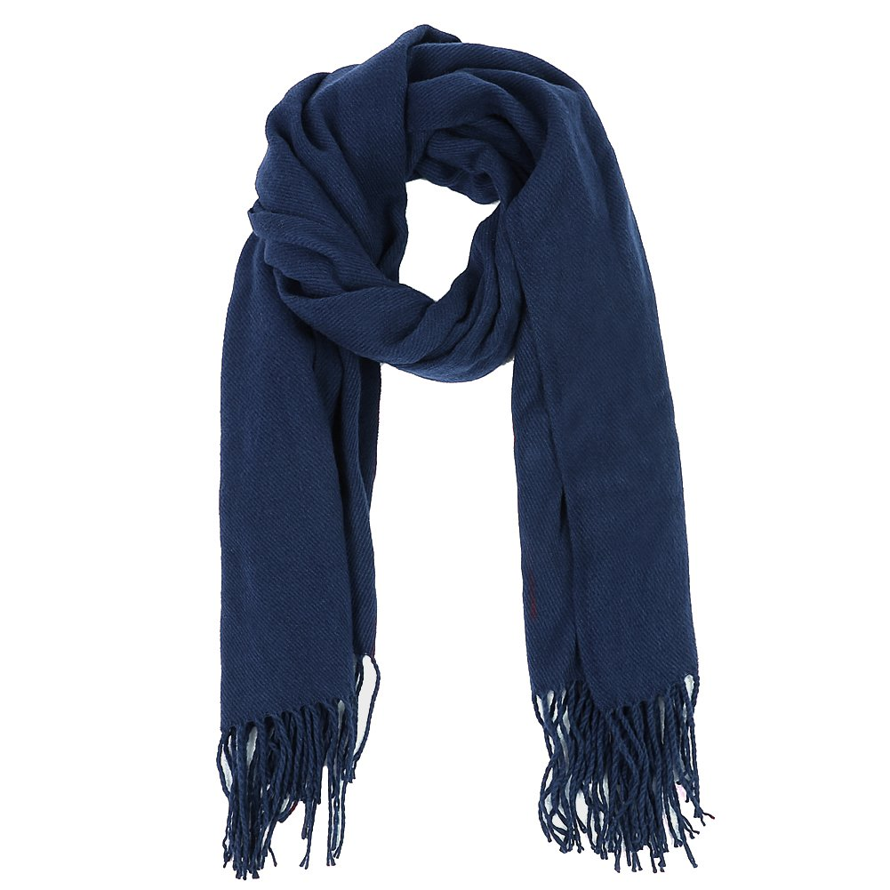 VBIGER Winter Warm Scarf Thick Shawl Unisex Oversize Scarves with Tassels for Both Men and Women (Navy Blue)