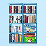 Homdox 8-Cube Kids Plastic Bookshelf Adjustable 4 Shelf Bookcase Multifunctional Organizer Closet DIY Storage Shelves, Blue