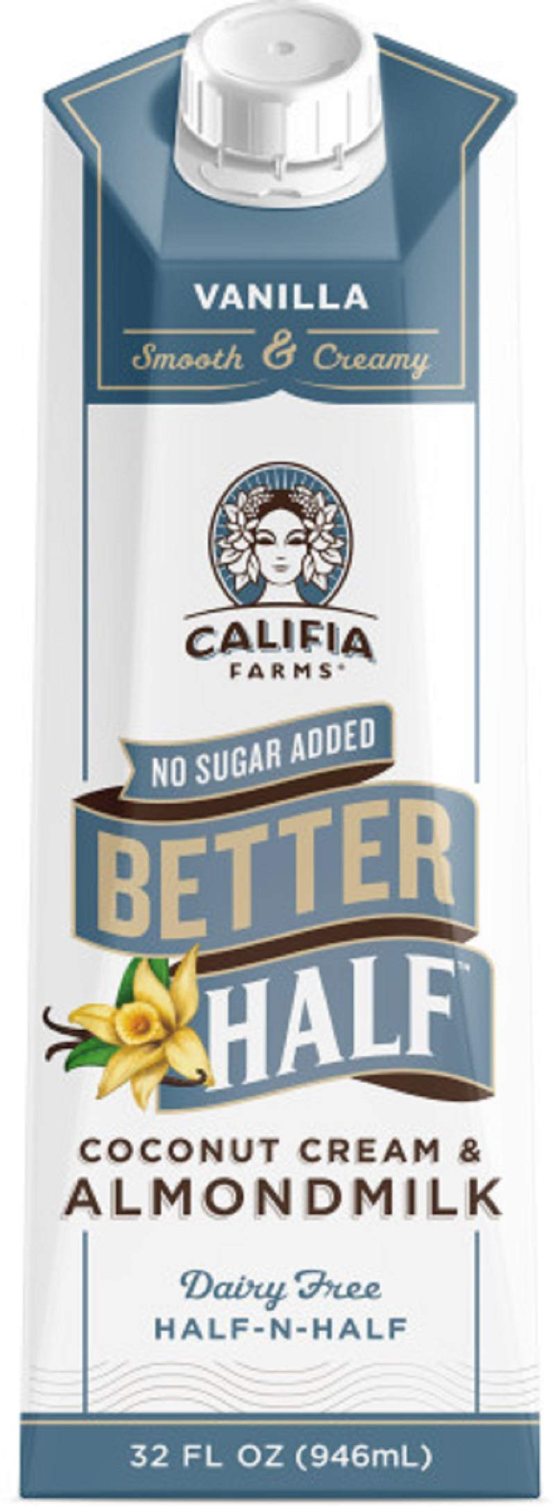 Califia Farms Vanilla Better Half Coffee Creamer, 32 Oz (Pack of 6) | Coconut Cream and Almondmilk | Half & Half | Dairy Free | Plant Based | Nut Milk | Vegan | Non-GMO by Califia Farms