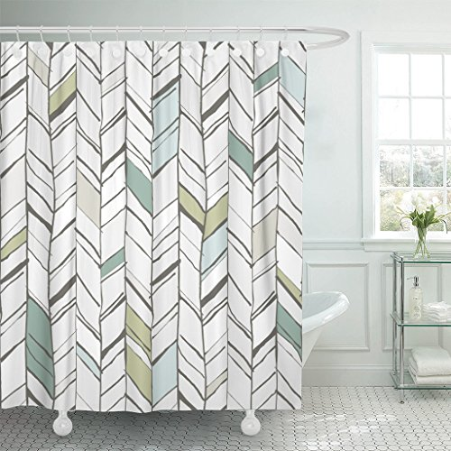 (TOMPOP Shower Curtain Green Handdrawn Creative Herringbone Pattern Perfectly Composition Projects Chevron Waterproof Polyester Fabric 72 x 72 Inches Set with Hooks)