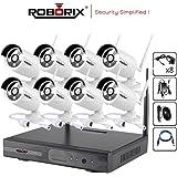 ROBORIX 8 camera wireless wifi IP 8 channel NVR 1MP 720p HD CCTV Security camera kit (1TB Hard Drive included)