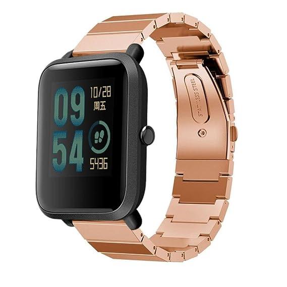 MYQyiyi Clásico Correa de Acero inoxidable de Reloj para Xiaomi Amazfit Bip Youth Watch