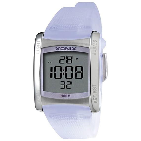 Reloj unisex,Cuadrado led impermeable multiusos natación estudiante al aire libre deportes reloj electrónico digital -G: Amazon.es: Relojes