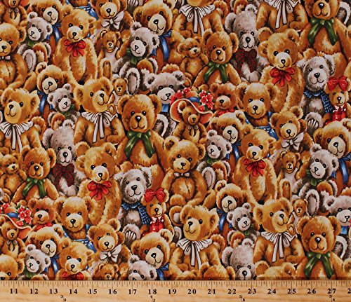 Cotton Bear Hugs Stacked Teddy Bears with Bows Stuffed Animals Kids Toys Cotton Fabric Print by the Yard (112-29401)