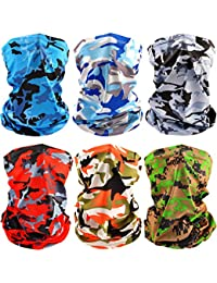 6 PCS Man/Women Outdoor Sun UV Protection Face Mask Neck Gaiter Windproof Scarf Sunscreen Breathable Bandana Balaclava (Camouflage)