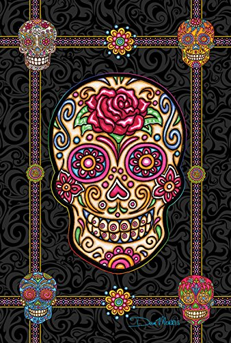 Decorative Skulls (Toland Home Garden Sugar Skulls 12.5 x 18 Inch Decorative Colorful Halloween Skull Garden Flag)