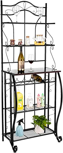Kcelarec Multiuse 5 Tier Metal Kitchen Bakers Rack,Kitchen Storage Organizer Workstation,Black