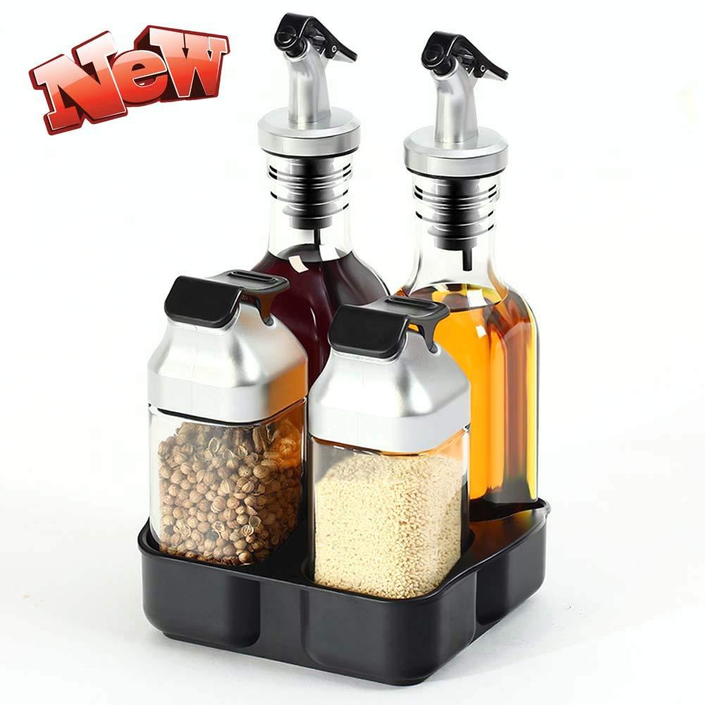 Oil & Vinegar Set - Oil, Vinegar, Salt & Pepper Set,Spice Organizer with Dust Cover, for Home, Restaurant, Hotel, Kitchen, BBQ,Kitchen Supplies by HLDWXN