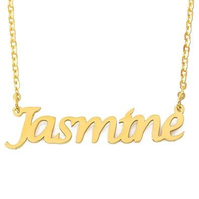 598e1732693e6 Amazon.com: Jasmine Name Necklace - 18ct Gold Plated: Jewelry