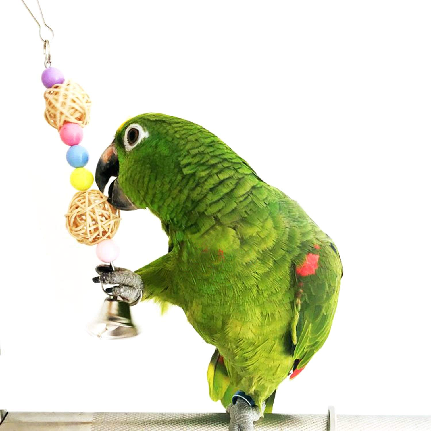 Macaws Parrots Conures Finches 5pcs Bird Parrot Toys Hanging Bell Pet Bird Cage Hammock Swing Toy Hanging Toy for Small Parakeets Cockatiels Love Birds