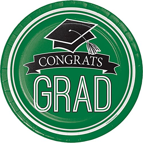 Creative Converting 180 Count School Spirit Sturdy Style Small/Dessert Paper Plates for Graduation Party, Emerald Green
