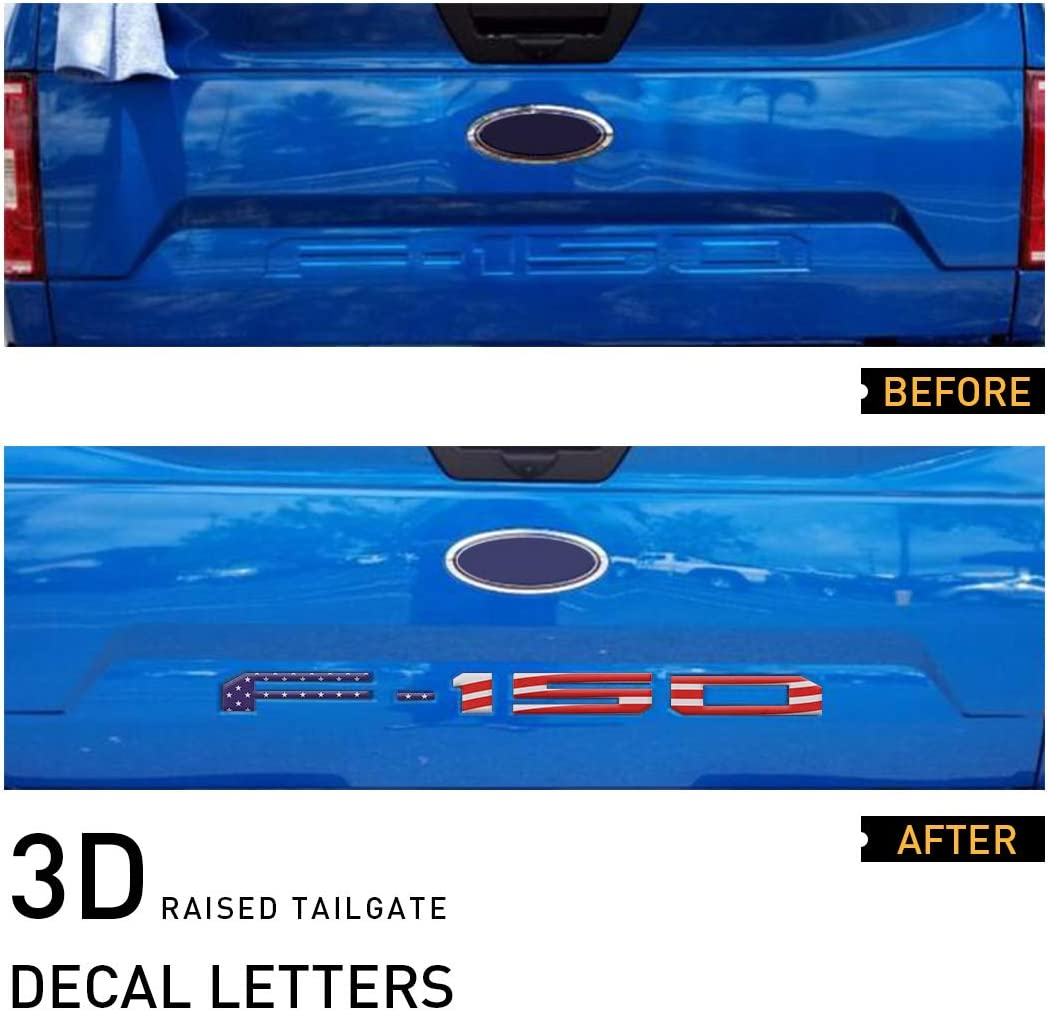 Gloss Black UTSAUTO Tailgate Insert Letters for Ford F150 2018-2020 with Adhesive 3D Raised Tailgate Decal Letters Tailgate Insert Decals Letters
