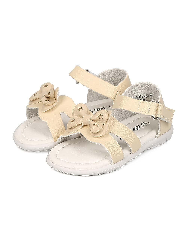 Alrisco Girl Leatherette Open Toe Bow Tie Ankle Strap Sandal EI40 Toddler Beige