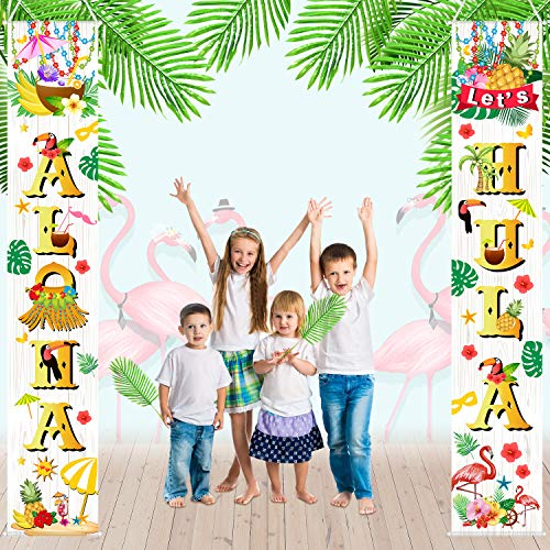 (Luau Party Decoration Hawaiian Aloha Party Decorations Porch Sign Supplies Aloha Banner for Luau Party Favors Palm Leaf Tropical Hibiscus Flamingo Pineapple Summer Tiki Party Bridal Shower)