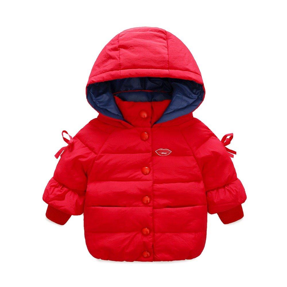 rouge 7T Zorux – Mode Blanc Duvet de Canard Veste pour fille Combinaison à capuche Filles Manteau d'hiver Parka avec nœud enfants VêteHommests