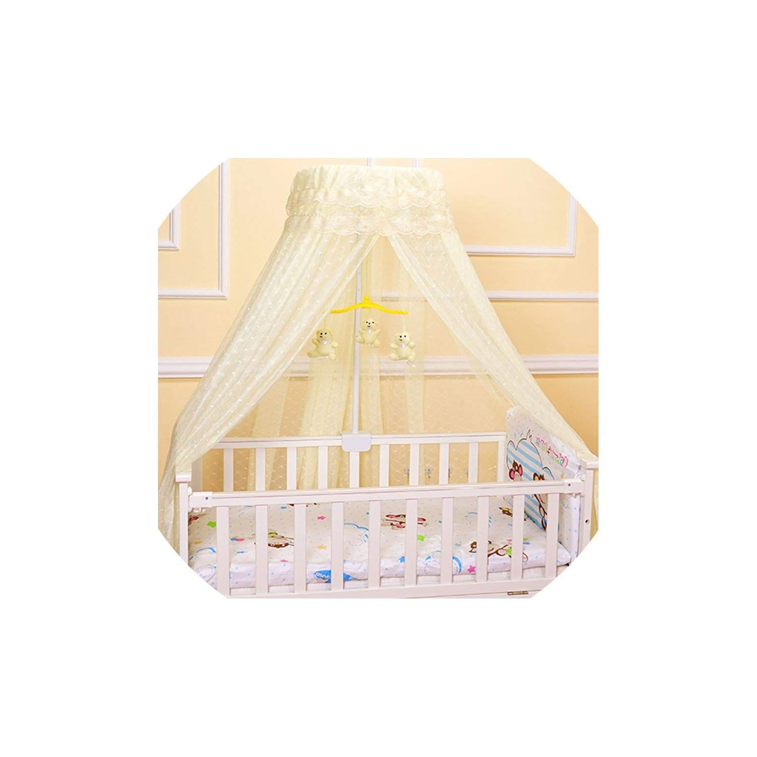 Round Baby Mosquito Net Romantic Printed Hung Dome Mosquito Netting Bed,Yellow,Height 200Cm