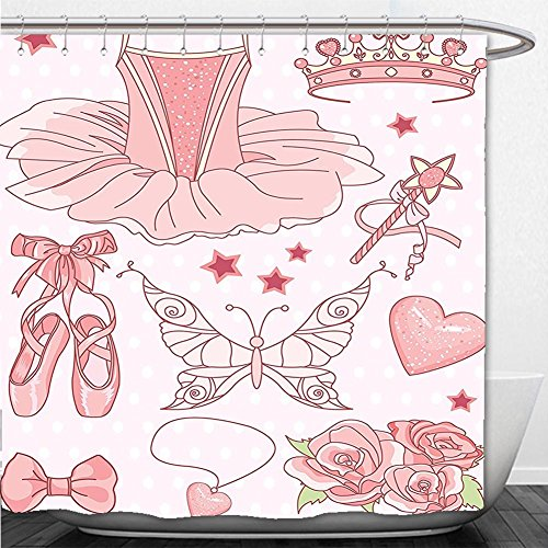 Beshowere Shower Curtain Teen Girls Decor Collection Set of Princess Ballerina Accessories Classic Costume Shoes Tiara Roses Image Pattern Pink