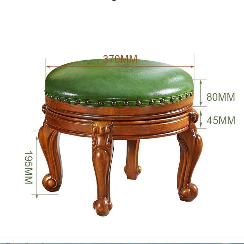 ピアノを変える ラウンドレザー布張りフットスツール、 回転可能 純木のオットマンの足台 ティーテーブルスツール   リビングルームのソファ (色 : B, サイズ さいず : Diameter 37cm) Diameter 37cm B B07SCP5HPJ