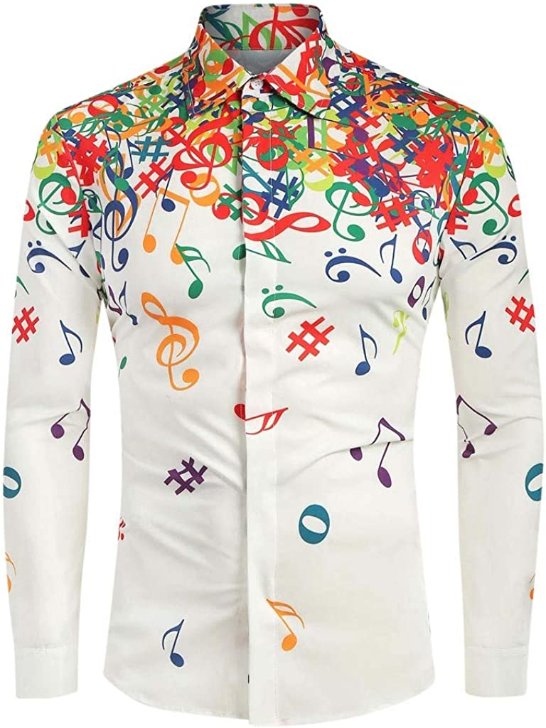 Futurelove Clothing Men's Casual Button Shirt, Males Long Sleeve Vintage Musical Note Pattern Printed Shirt Blouse