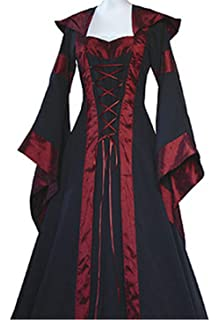 LETSQK Retro Hooded Gothic Medieval Dresses Irish Victorian Halloween Costume