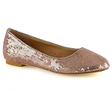 322a632b3 Womens Slip On Shoes Sequins Ballet Ladies Flat Bridal Bridesmaid Flower  Girl Sparkly Pumps Size 3
