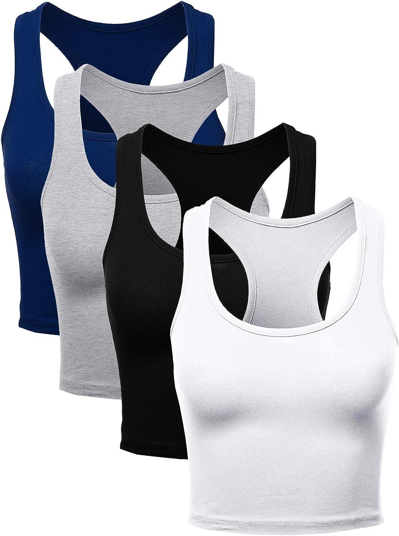Suyye Women Crop Tank Tops Raceback Sports Workout 4 Pieces Cotton Top