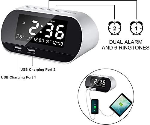 KOSCHEAL Alarm Clock Radio FM Snooze with Dual-Alarm Dimmer LED Temperature Display 6 Alarm Sounds Adjustable Dual USB Charging Ports Battery Backup Outlet Powered, Multic-function bedside Sleep Timer