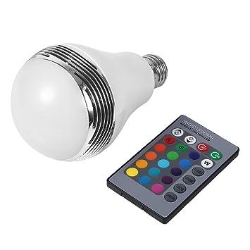 Bombilla E27 LED Wireless Bluetooth 2.1 Bombilla Altavoz de Audio de Música Inteligente LED RGB Lámpara con Control Remoto: Amazon.es: Hogar