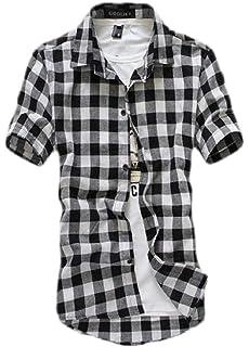 Nanquan Men Cotton Casual Slim Fit Polka Dot Long Sleeve Button Down Shirt