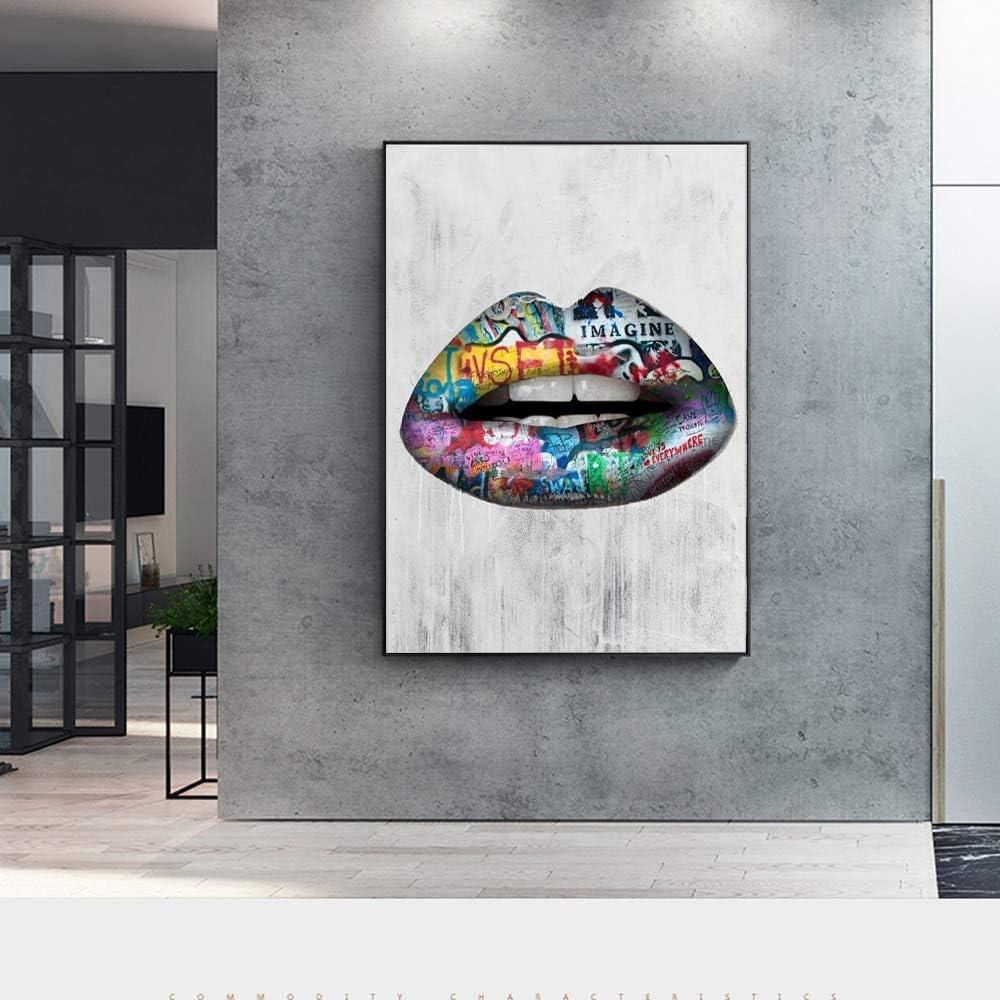 Geiqianjiumai Abstracto Hermoso Labios Arte de la Pared Impreso en Lienzo Carteles e Impresiones Graffiti Art Pop Art Pintura sin Marco 60x90cm
