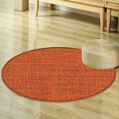 - Mikihome Round Area Rug Burnt Orange Decor Faded Burlap Texture Print Background of Macro Thick Fabric Graphic Mat Decor Artrpint Burnt Orange Indoor/Outdoor Round Area Rug R-24
