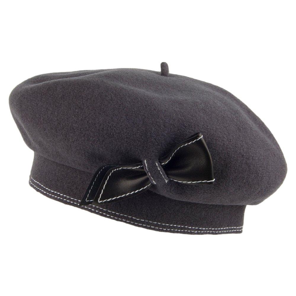 Laulhère Colette Wool Beret with Storage Pouch (Gray (Charcoal/Black))