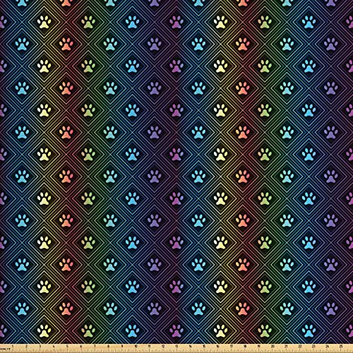 - Ambesonne Dog Lover Fabric by The Yard, Paw Print Pattern with Diamond Shaped Rhombus Shapes Design Geometric Arrangement, Decorative Fabric for Upholstery and Home Accents, 1 Yard, Multicolor