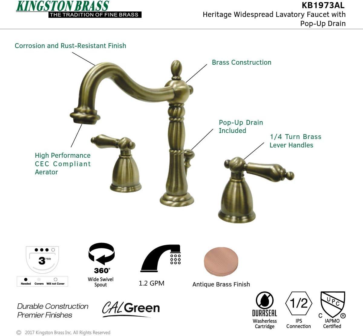 8 Vintage Brass Kingston Brass KB1973AL Heritage Widespread Lavatory Faucet