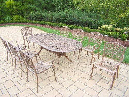 picture of Oakland Living Mississippi 9-Piece Dining Set with 84 by 42-Inch Oval Table And8 Stackable Chairs, All Cast Aluminum