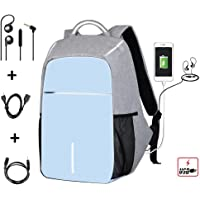 "ENbeautter 15.6"" Mochila para Laptop con USB Puerto de carga With USB Power bank Laptop NEGRO,impermeable, con bolsa para libro de viaje, color gris.Con auriculares (Sky blue)"
