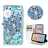 STENES Moto G6 Play Case - STYLISH - 3D Handmade Bling Crystal Butterfly Flowers Design Wallet Credit Card Slots Fold Stand Leather Cover Case For Moto G6 Play - Blue