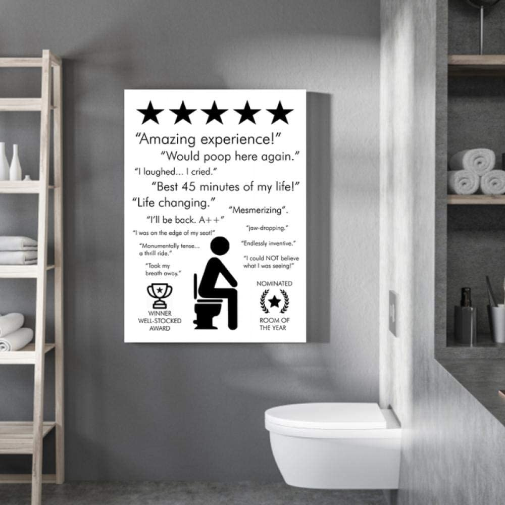 KBIASD Bathroom Quote Sign Print Black White Poster Amazing Experience Would Poop Here Again Toilet Art Canvas Painting Bathroom Decor 40x60cm unframed