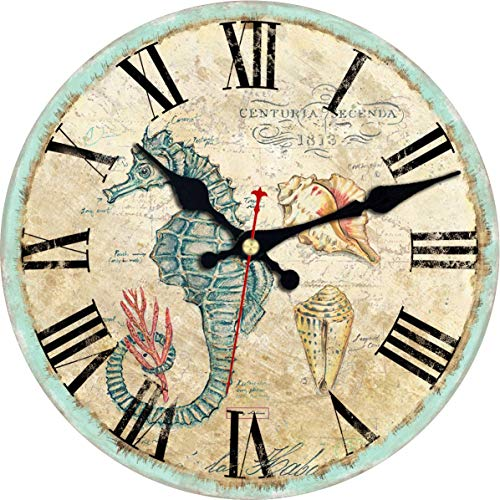 - ShuaXin Wooden Antique Classic Retro 14 Inch Large Round Wall Clock,Living Room Decor Nautical Theme Sea Creatures Subject Home Decoration Wall Clock