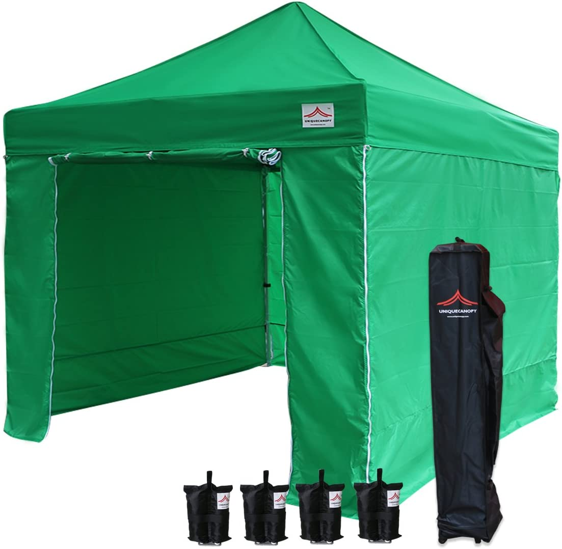 UNIQUECANOPY 10'x10' Ez Pop Up Canopy Tent Commercial Instant Shelter, with 4 Removable Zippered Side Walls and Heavy Duty Roller Bag, 4 Sand Bags Green