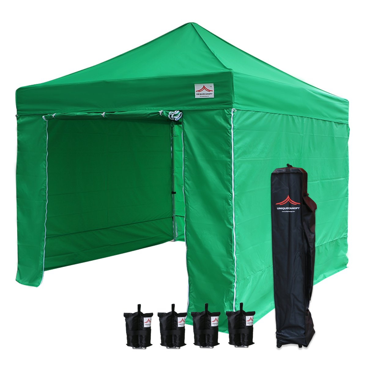 UNIQUECANOPY 10x10 Ez Pop up Canopy Tents for Parties Outdoor Portable Instant Folded Commercial Popup Shelter, with 4 Zippered Side Walls and Wheeled Carrying Bag Bonus 4 Sandbags Green