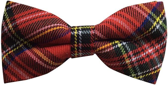 Red tartan Royal Stewart bow tie Pre-tied Scottish red bow tie gift wedding NEW