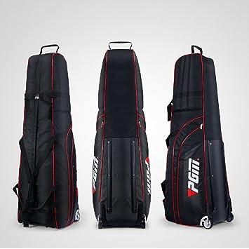 Bolsa de viaje acolchada con ruedas para golf PGM, viene con una pequeña funda de almacenamiento, plegable., Hombre, negro