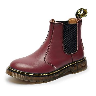 0b04f232d0f376 BAOLESEM Herren Damen Chelsea Boots Stiefelette Stiefel Lederstiefel Winter  Leder Schneestiefel Burgundy