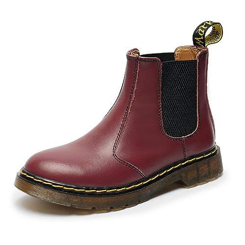 BAOLESEM Botas Chelsea Hombre Mujer Botines de Cuero Unisex Adulto Otoño Invierno Plano Casual: Amazon.es: Zapatos y complementos
