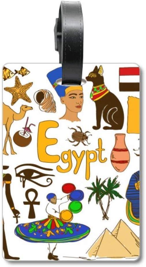 Etiqueta de identificación para Maleta con Bandera Nacional de Egipto Landscap Animals